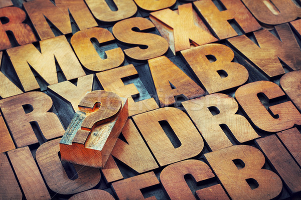 question mark and alphabet in wood type Stock photo © PixelsAway