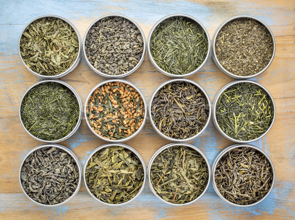 Stock photo: loose leaf  green tea collection