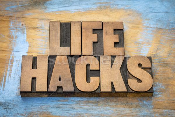 life hacks word abstract in wood type Stock photo © PixelsAway