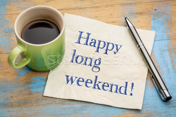 Mutlu uzun hafta sonu peçete el yazısı fincan Stok fotoğraf © PixelsAway