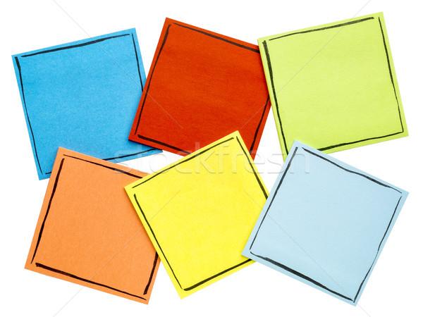 Foto stock: Aislado · notas · adhesivas · establecer · seis · recordatorio · notas