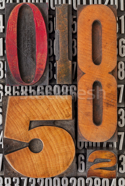 number abstract in letterpress type Stock photo © PixelsAway