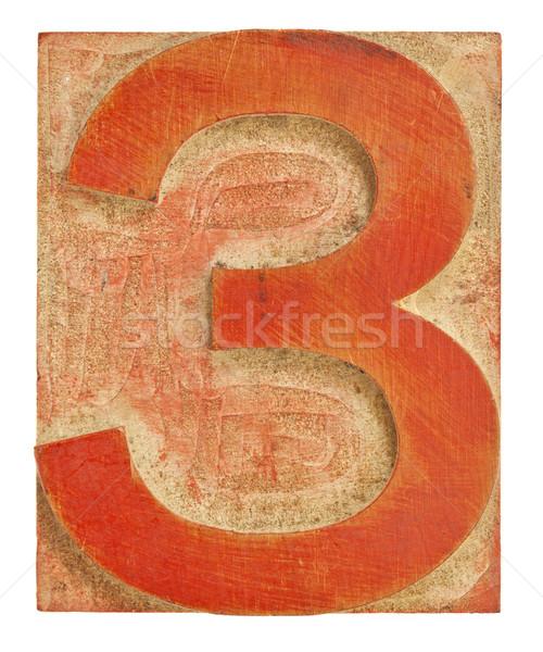 number three printing block Stock photo © PixelsAway