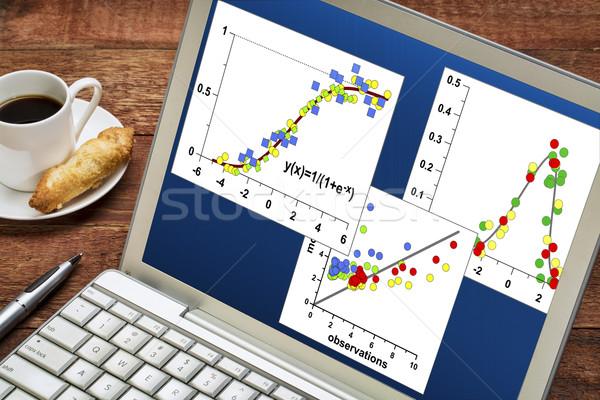 Wetenschappelijk gegevens grafieken laptop beker koffie Stockfoto © PixelsAway