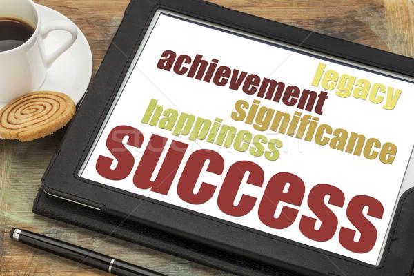 Succes digitale tablet onderdelen geluk prestatie Stockfoto © PixelsAway
