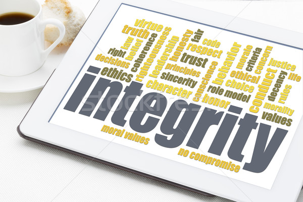 integrity word cloud on digital tablet Stock photo © PixelsAway