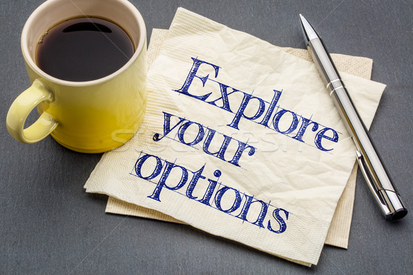Opzioni tovagliolo consiglio calligrafia Cup Foto d'archivio © PixelsAway