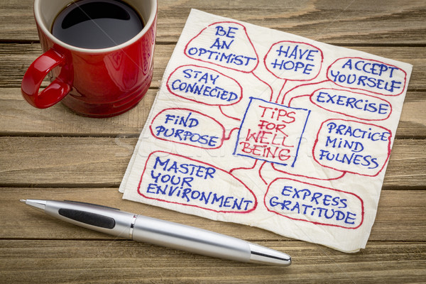 tips for well being on napkin Stock photo © PixelsAway
