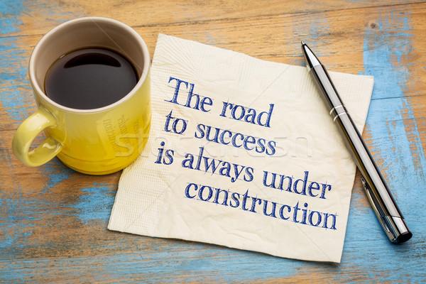Estrada sucesso sempre construção letra guardanapo Foto stock © PixelsAway
