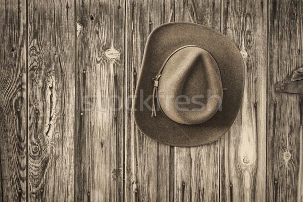 Kovboy şapkası rustik ahır duvar kahverengi yün Stok fotoğraf © PixelsAway