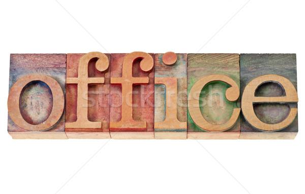 Oficina palabra madera tipo aislado vintage Foto stock © PixelsAway