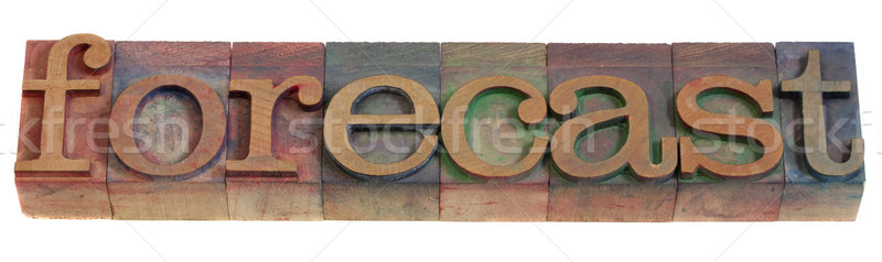 Prognose woord vintage houten afdrukken Stockfoto © PixelsAway