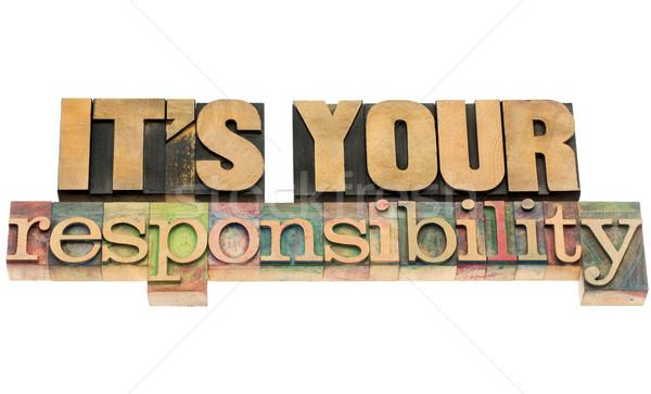 Responsabilità isolato testo vintage legno Foto d'archivio © PixelsAway