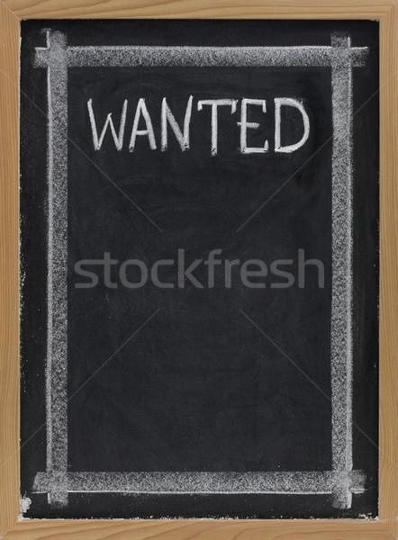Keresett iskolatábla felirat kézzel írott fehér kréta Stock fotó © PixelsAway