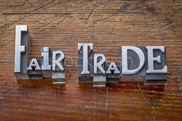 справедливой торговли слов металл тип Vintage Сток-фото © PixelsAway