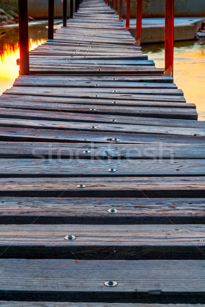 footbridge over river at sunrise Stock photo © PixelsAway