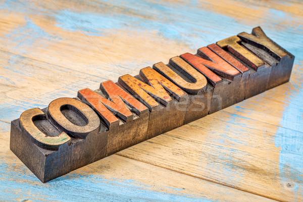 Gemeenschap banner hout type woord abstract Stockfoto © PixelsAway
