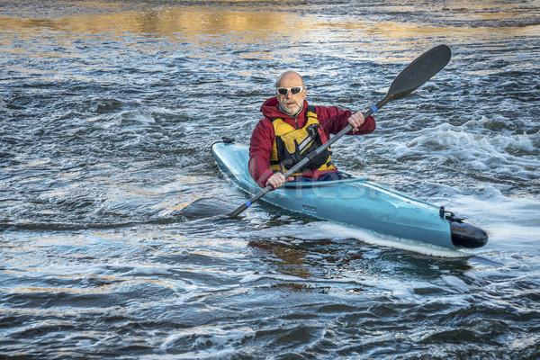 senior male paddler kayaking Stock photo © PixelsAway