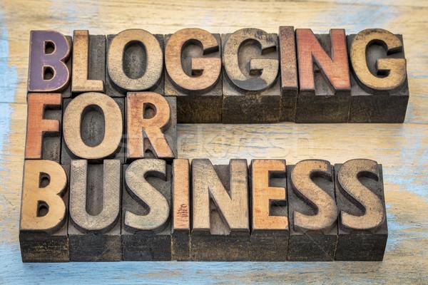 Blogging banner business internet testo vintage Foto d'archivio © PixelsAway