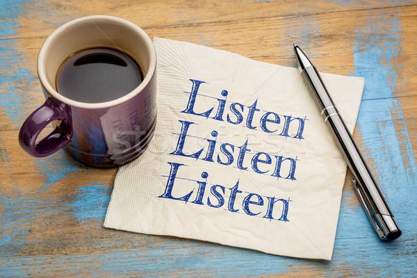 Hallgat szalvéta kommunikáció kézírás csésze eszpresszó Stock fotó © PixelsAway