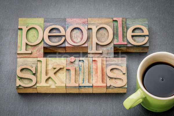 people skills word abstract in wood type Stock photo © PixelsAway