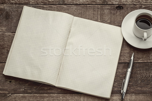 old blank notebook and coffee Stock photo © PixelsAway