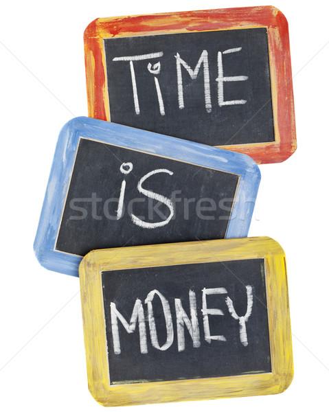 Tijd is geld Blackboard leuze witte krijt handschrift Stockfoto © PixelsAway