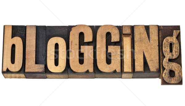 Blogging mot isolé vintage bois Photo stock © PixelsAway