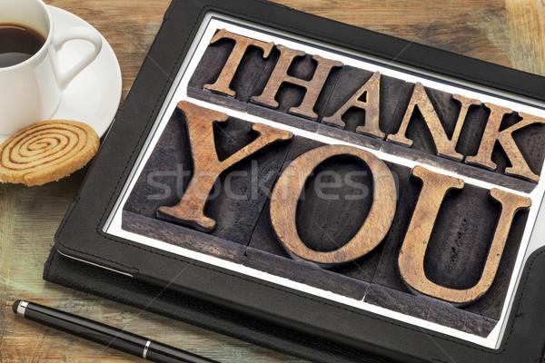 thank you on digital tablet Stock photo © PixelsAway