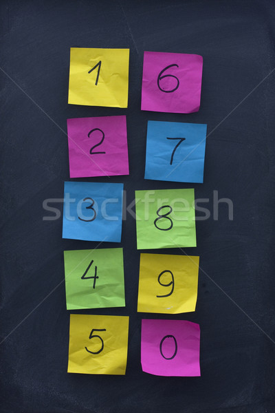 arabic numerals on colorful sticky notes and blackboard Stock photo © PixelsAway
