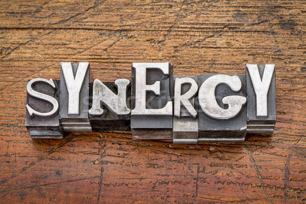synergy word in metal type Stock photo © PixelsAway