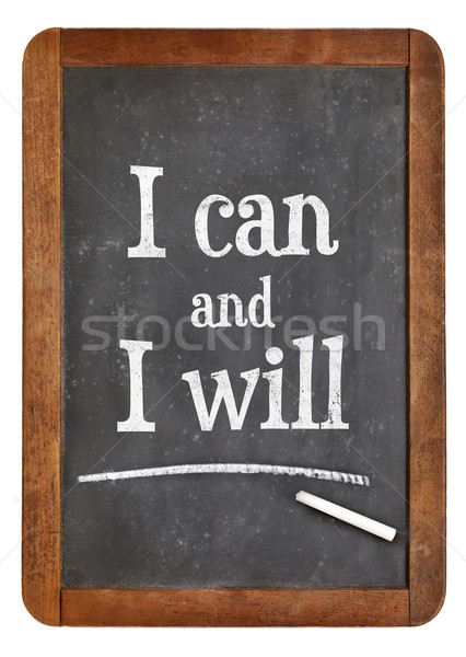 I can and will motivation text on balckboard Stock photo © PixelsAway