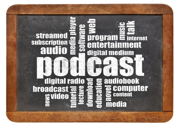 Podcast word cloud lavagna vintage digitale radio Foto d'archivio © PixelsAway
