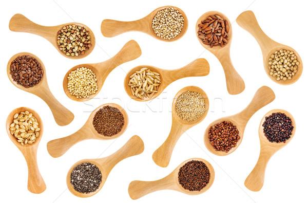 Sin gluten semillas cuchara resumen variedad Foto stock © PixelsAway