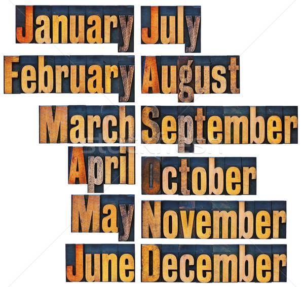 months in letterpress wood type Stock photo © PixelsAway
