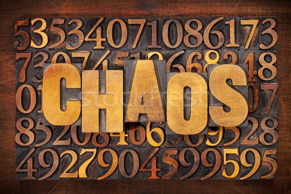 Kaos sayılar kelime soyut bağbozumu Stok fotoğraf © PixelsAway