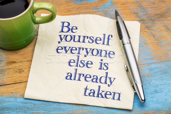 be yourself advice on napkin Stock photo © PixelsAway