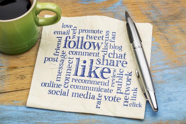 like, share follow word cloud Stock photo © PixelsAway