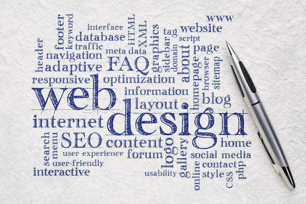 Web tasarım kelime bulutu kâğıt web web sitesi tasarımı beyaz Stok fotoğraf © PixelsAway