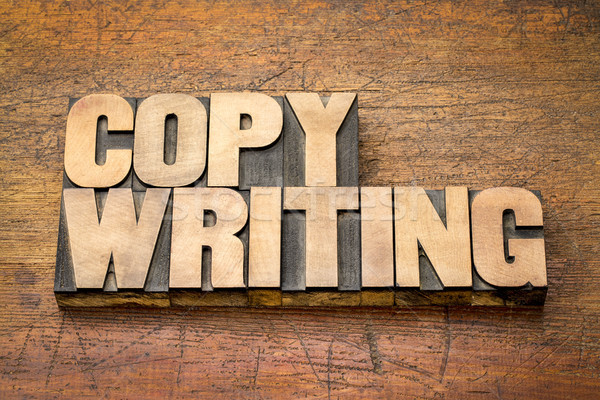 Stock photo: copywriting word in letterpress wood type