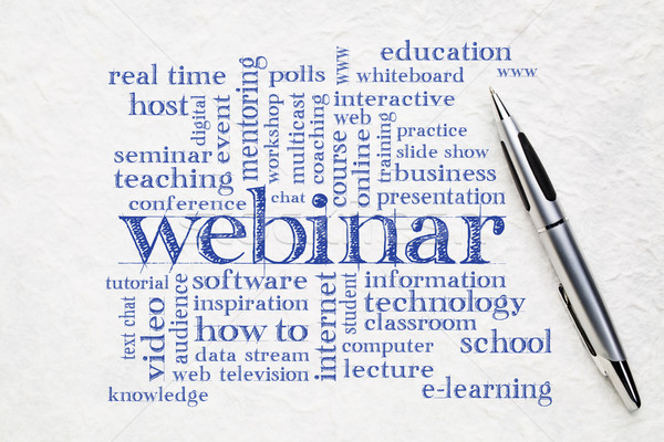 Webinar szófelhő mintázott papír háló előadás Stock fotó © PixelsAway