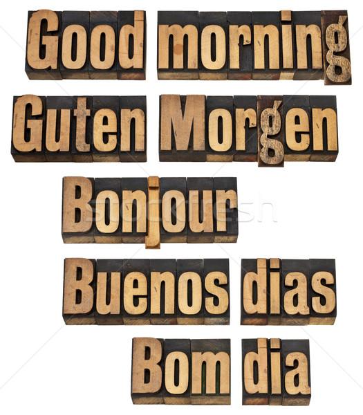 Sabah iyi beş İngilizce fransız İspanyolca Stok fotoğraf © PixelsAway