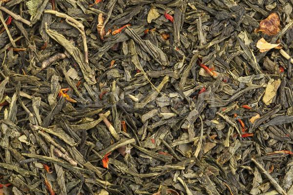 зеленый чай текстуры свободный лист яблоко фрукты Сток-фото © PixelsAway