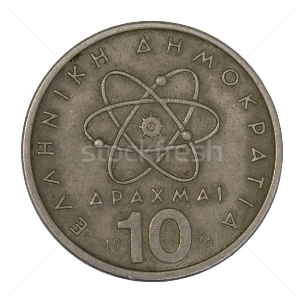Científico modelo átomo velho grego moeda Foto stock © PixelsAway
