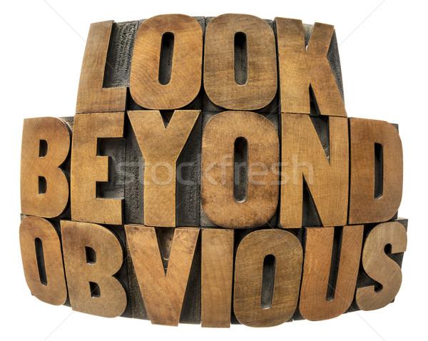 Kijken hout type geïsoleerd tekst fisheye Stockfoto © PixelsAway