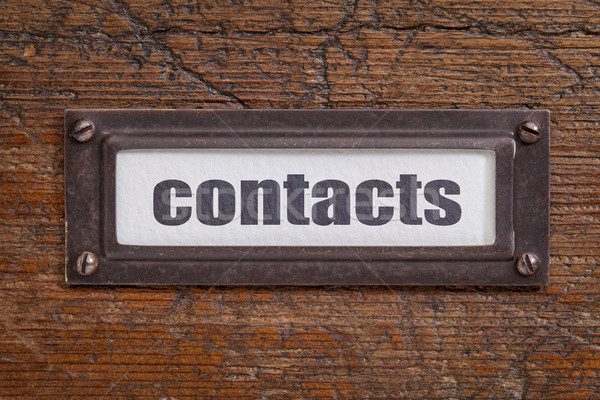 contacts  tag - file cabinet label Stock photo © PixelsAway