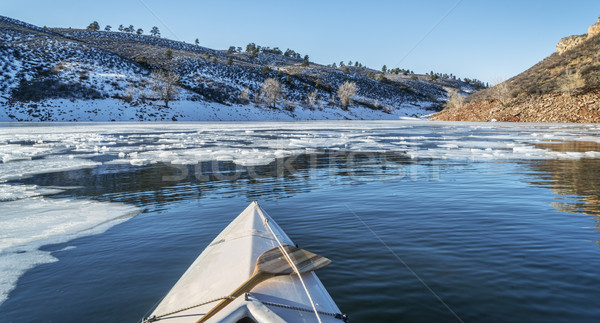 winter canoe paddling Stock photo © PixelsAway