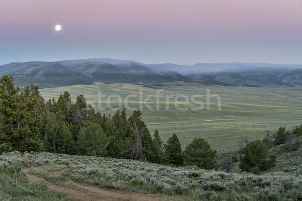 野火 煙 山 満月 夜明け カバー ストックフォト © PixelsAway