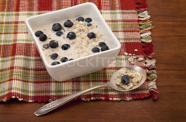 Muesli cereal café da manhã mirtilos leite de soja branco Foto stock © PixelsAway