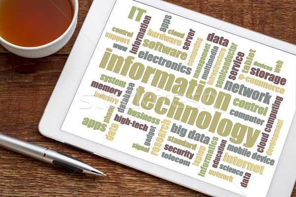 Tecnologia da informação nuvem da palavra comprimido digital copo chá Foto stock © PixelsAway